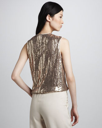 Halston Sequined Wrap-Front Top