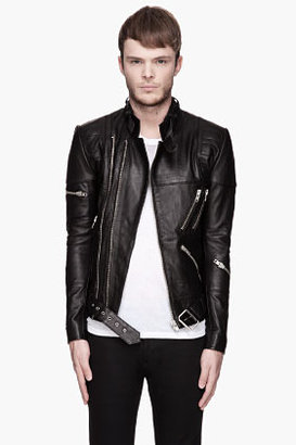 Surface to Air Black leather quilted Takashi biker Jacket