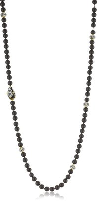 Miguel Ases Matte Onyx Long Strand Beaded Necklace