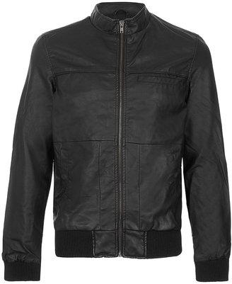 Topman Black Leather Look Bomber Jacket