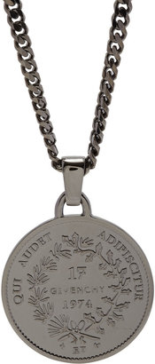 Givenchy Ruthenium Small Medallion Necklace