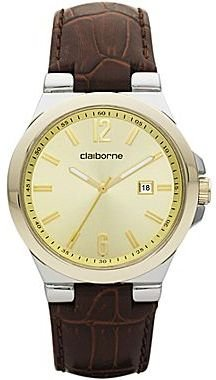 Claiborne Mens Brown Leather Easy Reader Watch