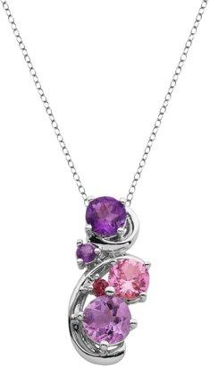 Sterling Silver Amethyst, Rhodolite Garnet & Lab-Created Pink Sapphire Swirl Pendant