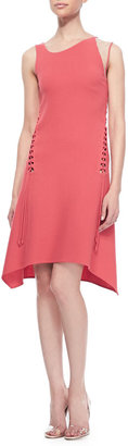Ralph Rucci Sleeveless Lace-Up Dress, Coral