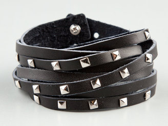 Full Tilt Pryamid Stud Faux Leather Wrap Bracelet