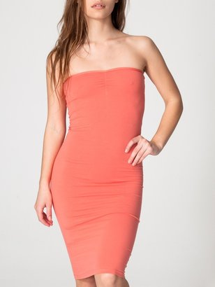 American Apparel Cotton Spandex Jersey Strapless Ruched Dress