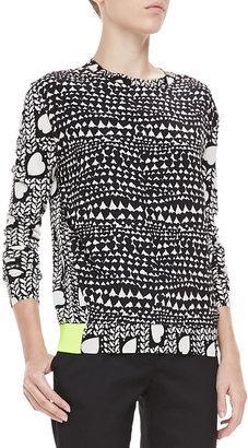 Stella McCartney Heart-Print Knit Neon-Band Pullover