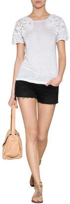 Vanessa Bruno Linen T-Shirt with Crochet Lace Shoulders