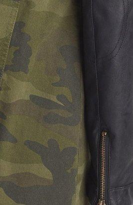 BCBGeneration Camo & Faux Leather Anorak