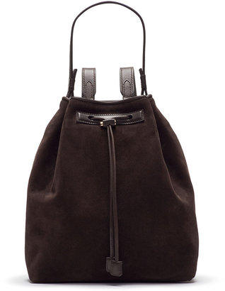 The Row Mini Suede Backpack, Dark Brown
