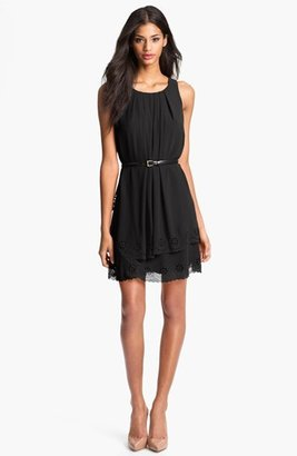Jessica Simpson Tiered Eyelet Crêpe de Chine Dress