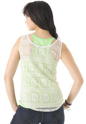 Delia's Crochet Back Print Tank