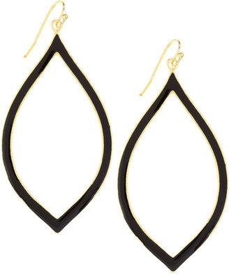 Greenbeads Enamel Marquis Drop Earrings, Black