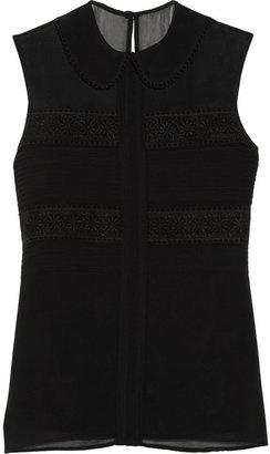 Temperley London Lace-detailed silk-chiffon top