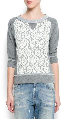 MANGO Lace panel sweatshirt