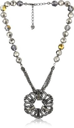 "Carolee Midnight Express"" Hematite-Tone Ornate Pendant Necklace"