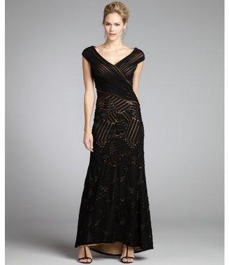 Tadashi Shoji black sequined chiffon textured cap sleeve gown