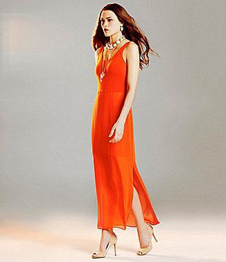 Vince Camuto Mesh-Overlay Maxi Dress & Lexi2 Cork Pumps