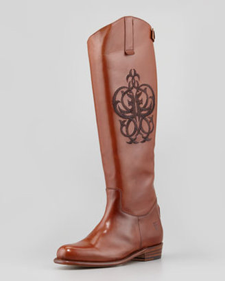Frye Polished Embroidered Riding Boot, Whiskey