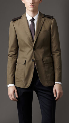 Burberry Modern Fit Cotton Gabardine Sports Jacket with Leather Epaulettes