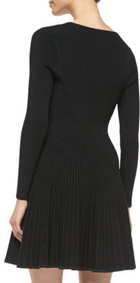 Milly Long-Sleeve Ribbed-Knit V-Neck Dress