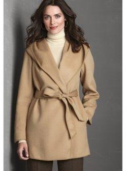 Johnston & Murphy Wool Hooded Wrap Coat