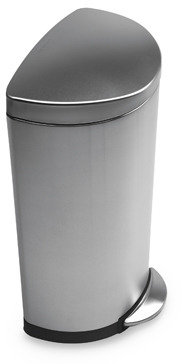 Simplehuman Deluxe 30-Liter Stainless Steel Fingerprint-Proof Semi-Round Step-On Trash Can