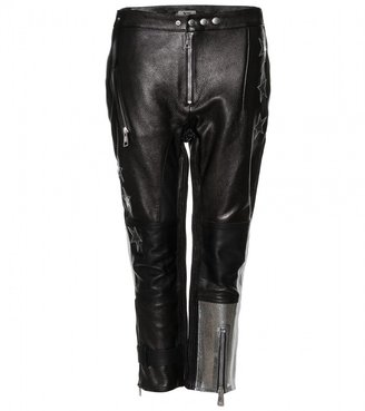 Acne Studios STARDUST CROPPED LEATHER TROUSERS WITH GLITTER APPLIQUÉ