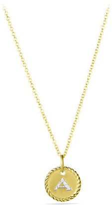 "David Yurman ""A"" Pendant with Diamonds in Gold on Chain $695 thestylecure.com"