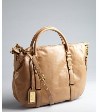 Badgley Mischka nutmeg coated leather 'Brooke' crossbody convertible tote