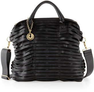 Charles Jourdan Beverly Open Lattice Leather Satchel Bag, Black