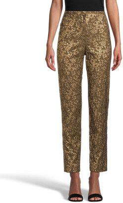 Nicole Miller Metallic Floral Jacquard Pants