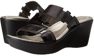 Naot Footwear Treasure (Black Madras Leather/Black Patent Leather) Women's Wedge Shoes