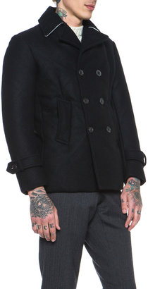 Thom Browne Down Filled Peacoat in Navy