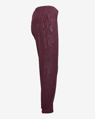 Georgie Exclusive Leather Like Track Pants: Eggplant