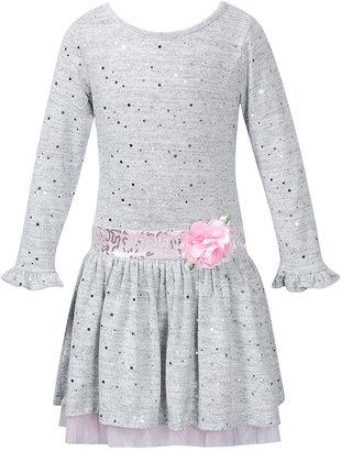 Sweet Heart Rose Girls Dress, Little Girls Sparkle Tulle-Hem Dress