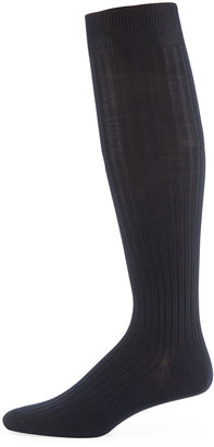 Neiman Marcus Over-the-Calf Ribbed Socks