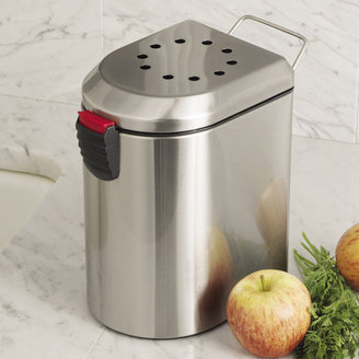 Oggi Compost Pail with EZ-Open Lid and Charcoal Filter, Stainless Steel