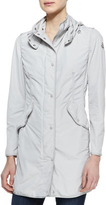 Moncler Long Snap-Front Jacket, Stone