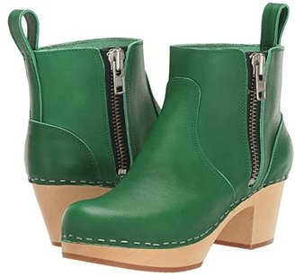 Swedish Hasbeens Zip It Emy (Green) Women's Zip Boots