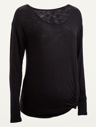 Old Navy Maternity Slub-Knit Side-Twist Long-Sleeve Top