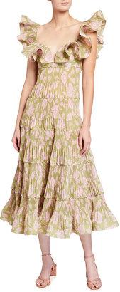 Zimmermann The Lovestruck Pleated Ruffle Dress