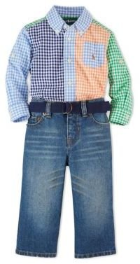 Ralph Lauren Baby Boys Gingham Shirt & Light-Wash Jeans Set