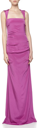 Nicole Miller Sleeveless Ruched Satin Gown, Sherbet