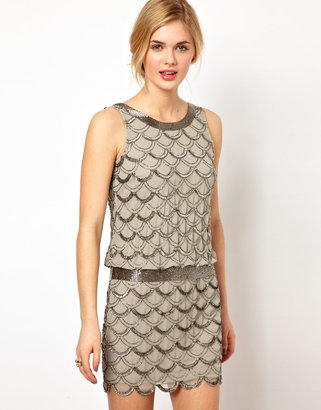 Frock and Frill Drop Waist Dress with Scallop Sequin Embellishment