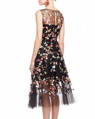 Oscar de la Renta Embroidered Floral Tulle Dress