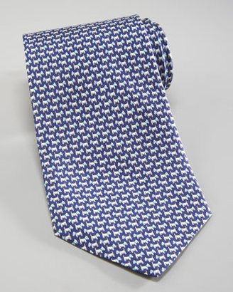 Salvatore Ferragamo Scottie Dog Tie, Navy/Aqua Blue