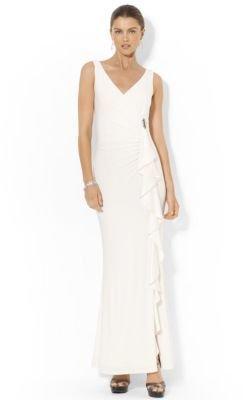Lauren Ralph Lauren Matte Jersey Surplice Ruffled Brooch Gown