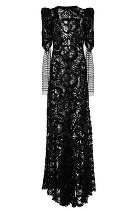Marc Jacobs Plum Embroidered Lace Stripe Sleeve Gown