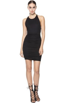 Alice + Olivia Leather Zip Back Ruched Dress